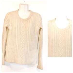 Madewell Ivory Cable Knit 100% Merino Wool Sweater